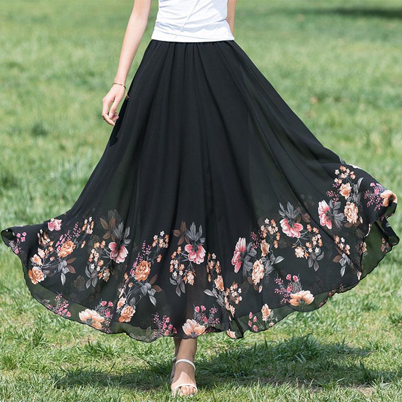 YUBKAVPOL / Черная длинная юбка с купонным принтом из шифона