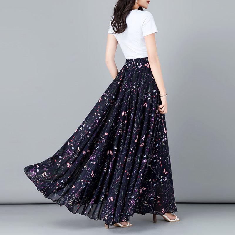 YUBKAVPOL / Длинная темно фиолетовая юбка с принтом бабочки