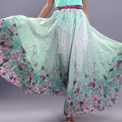 YUBKAVPOL / Шифоновая длинная юбка мятного цвета с купоном