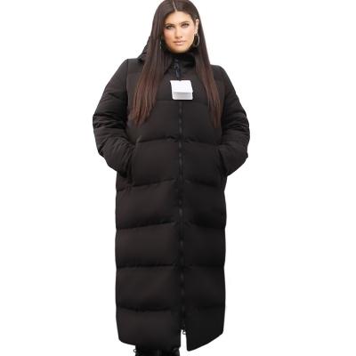 MAX WEST / Длинное черное пуховое пальто большого размера