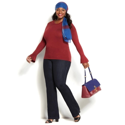 IMAN / Женские прямые джинсы большого размера темно синие