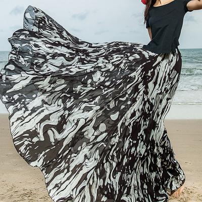 YUBKAVPOL / Длинная шифоновая черно белая юбка в пол