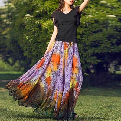 YUBKAVPOL / Шифоновая длинная юбка с этническим принтом