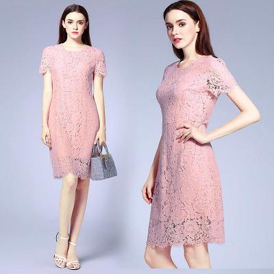 She's / Платье миди из кружева кораллового цвета