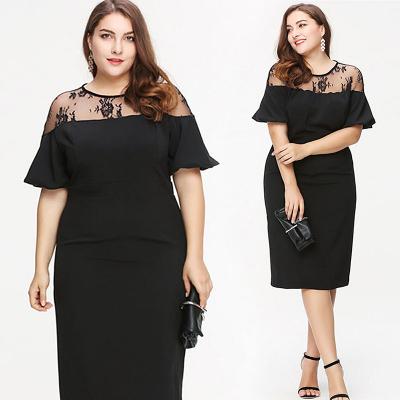KMwomen's / Платье миди черного цвета с вставками из кружева