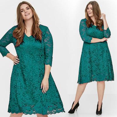 JUNAROSE / Платье миди из кружева цвета морской волны