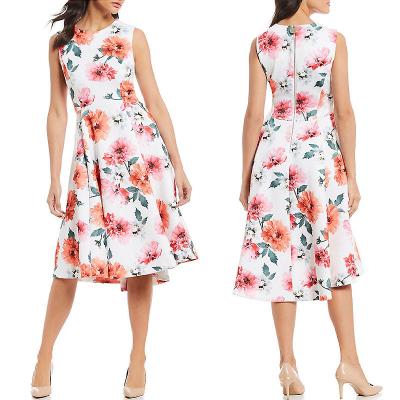 CALVIN CLEIN / Изысканное платье миди из неопрена