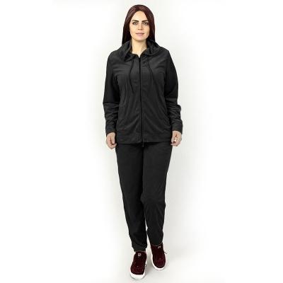 HUE / Бархатный женский спортивный костюм черного цвета