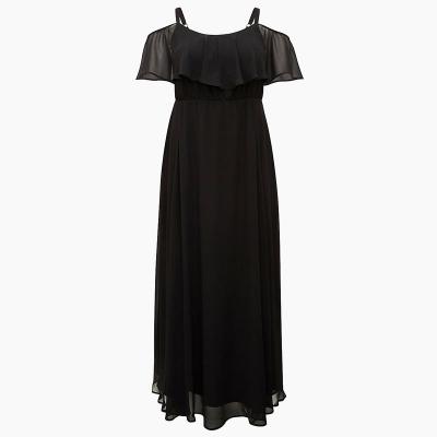 TORRID / Шифоновое вечернее платье в пол с открытыми плечами черное